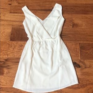 V front and back off white dress